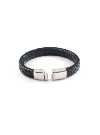 Мужской кожаный браслет cо стальной магнитной застежкой