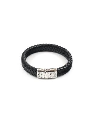 Мужской кожаный браслет cо стальной магнитной застежкой и серебряным орнаментом