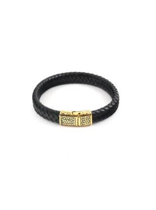Мужской кожаный браслет cо стальной магнитной застежкой и золотым орнаментом