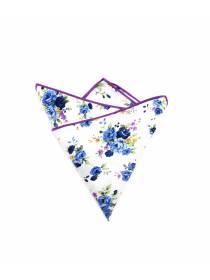 Нагрудный платок белый с фиолетовыми цветами из хлопка