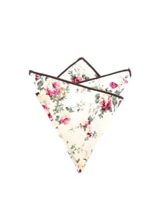 Нагрудный платок бежевого цвета с розами из хлопка