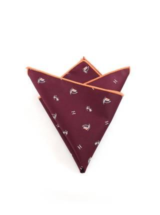 Нагрудный платок бордового цвета с якорем и яхтой из хлопка