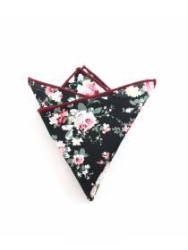 Нагрудный платок черного цвета с рисунком розы из хлопка