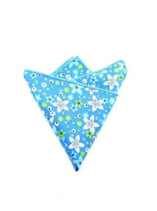 Нагрудный платок голубого цвета с разноцветными цветочками из хлопка