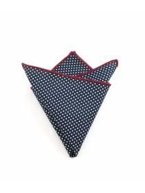 Нагрудный платок темно-синего цвета в белый горошек из хлопка