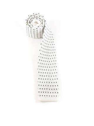 Вязаный галстук белый в черный горох