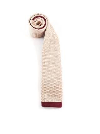 Вязаный галстук бежевого цвета с бордовой полоской на конце