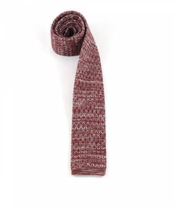 Вязаный галстук бордового цвета с белым меланж