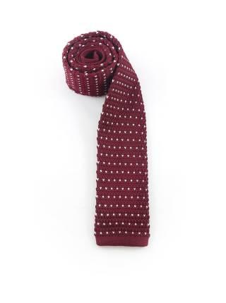 Вязаный галстук бордового цвета в белый горошек