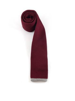 Вязаный галстук бордовый с серой полоской на конце
