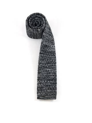 Вязаный галстук черного цвета с белым меланж
