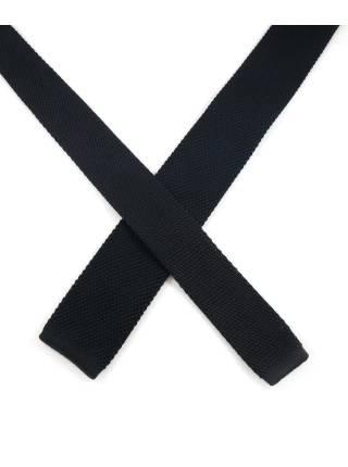 Вязаный галстук черный однотонный