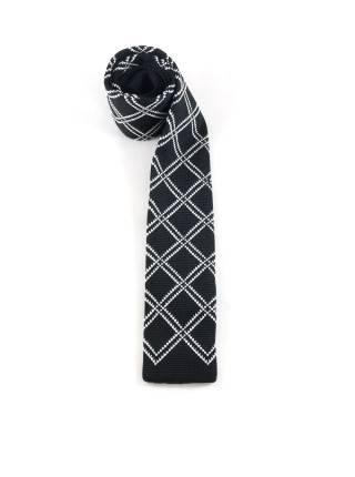 Вязаный галстук черный в белую косую клетку