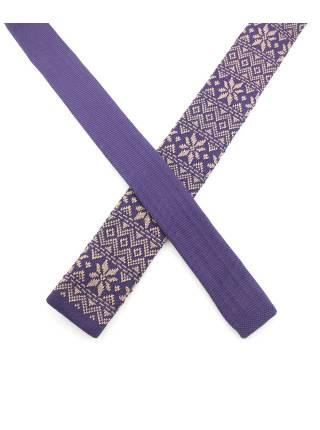 Вязаный галстук фиолетового цвета с бежевым рисунком