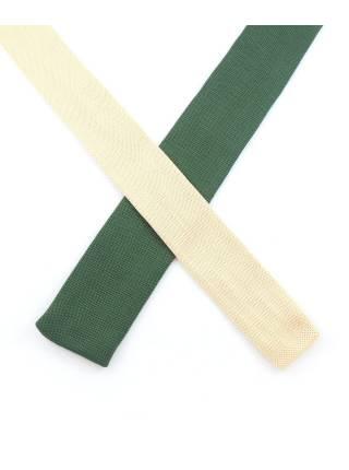 Вязаный галстук фисташкового цвета с разноцветными полосками