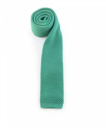 Вязаный галстук изумрудного цвета однотонный