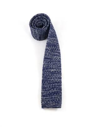 Вязаный галстук синего цвета с белым меланж