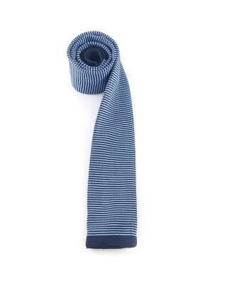 Вязаный галстук синего цвета в тонкую голубую полоску