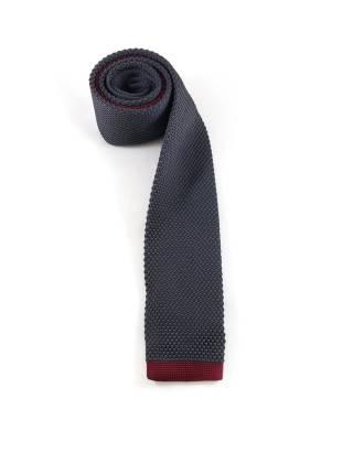 Вязаный галстук темно-серый с бордовой полоской на конце