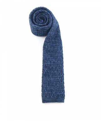 Вязаный галстук темно-синего цвета меланж