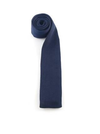 Вязаный галстук темно-синего цвета однотонный гладкого плетения