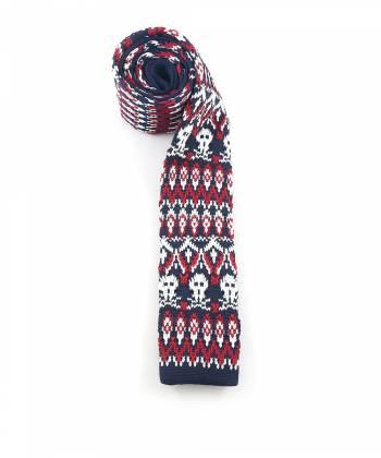 Вязаный галстук темно-синего цвета с красно-белым рисунком череп