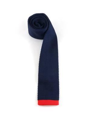 Вязаный галстук темно-синего цвета с красной полосой на конце
