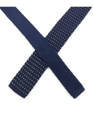 Вязаный галстук темно-синего цвета в белый горошек