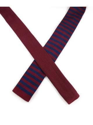 Вязаный галстук в бордовую и темно-синюю полоску