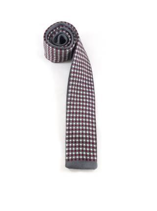 Вязаный галстук в разноцветную клетку и серой полоской на конце