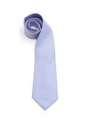 Бело-синий галстук в мелкую клетку