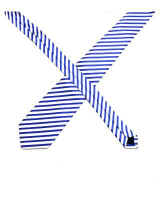 Белый галстук в синюю полоску