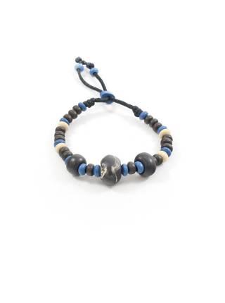 Браслет из камней коричневого, синего и бежевого цвета