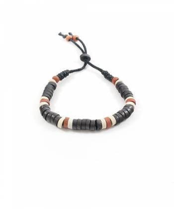 Браслет из камней темно-коричневого, бежевого и кирпичного цвета