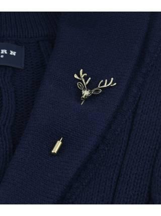 Бутоньерка для пиджака Олень цвет бронза