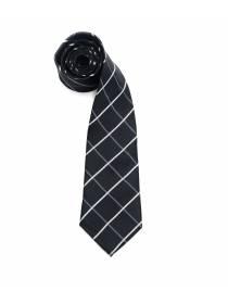 Черный галстук в ромб бело-серой окантовке