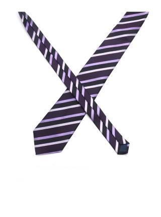 Фиолетовый галстук в полоску черно-серого цвета