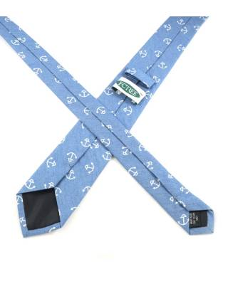 Галстук голубого цвета с якорями (морской галстук) из хлопка