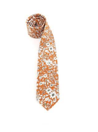 Галстук оранжевого цвета в белый цветочек из хлопка