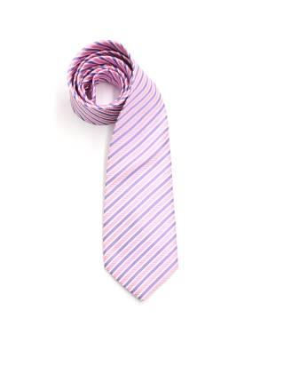 Галстук розовый в бело-фиолетовую полоску