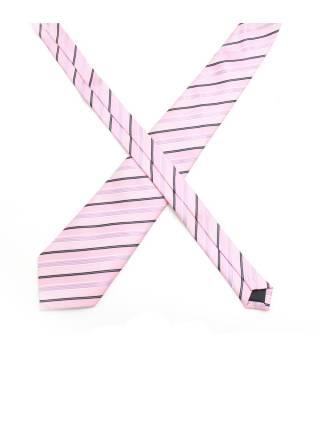 Галстук розовый в черно-фиолетовую полоску