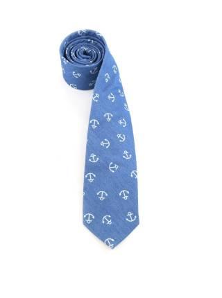 Галстук синего цвета с якорями (морской галстук) из хлопка