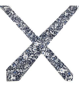 Галстук синего цвета в белый цветочек из хлопка