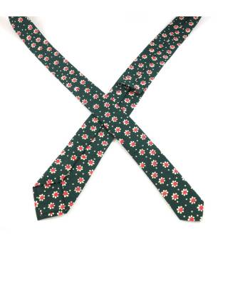 Галстук зеленого цвета с бело-красными цветочками из хлопка