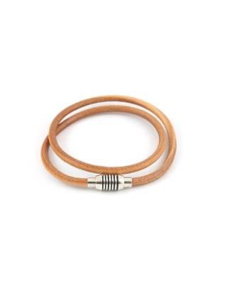 Кожаный браслет бежевого цвета c круглой застежкой