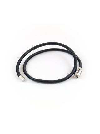 Кожаный браслет черного цвета c круглой застежкой