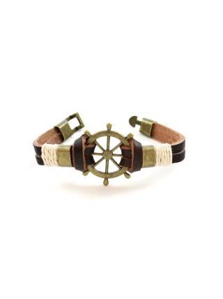 Мужской кожаный браслет со штурвалом