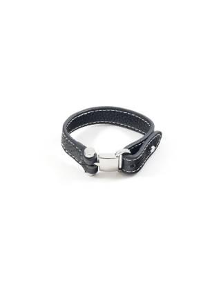 Мужской браслет из черного кожзаменителя с тремя отверстиями для застежки