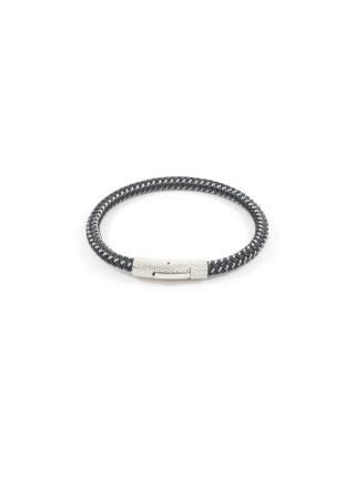 Мужской браслет из плетеного синтетического материала черного цвета с механической застежкой