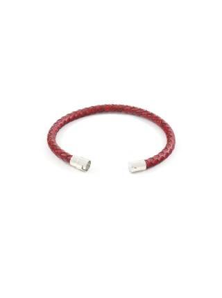 Мужской браслет из плетеной бордовой кожи с механической застежкой